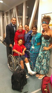 VYA youth had a temporary  cast placed on his leg so he may ride in a wheel chair through the customs of 3 countries just to donate it to a child in need in Sri Lanka
