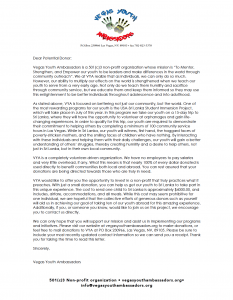 Letter from Vegas Youth Ambassadors